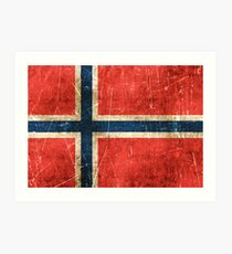 Vintage Aged and Scratched Norwegian Flag Art Print
