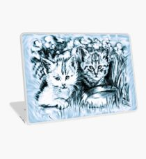 Baby Cats in Light Blue Laptop Skin