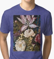 Vintage famous art - Balthasar Van Der Ast  - Still-Life With Flowers Tri-blend T-Shirt