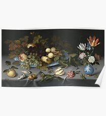 Vintage famous art - Balthasar Van Der Ast  - Still Life With Fruits And Flowers Poster