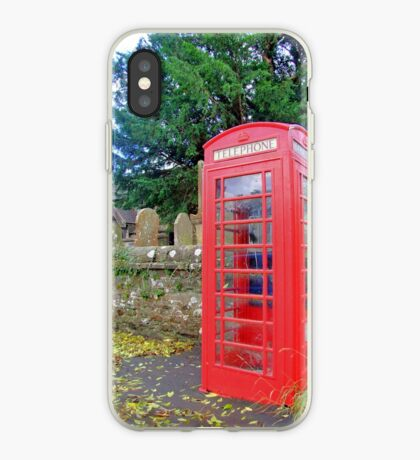 Call Home - Home Call, Red Royal Phone Booth, at a grave yard, cemetery  iPhone Case