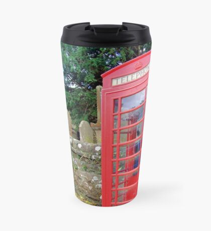 Call Home - Home Call, Red Royal Phone Booth, at a grave yard, cemetery  Travel Mug