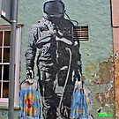 Astronaut Graffiti, Astronaut coming from shopping...with bags. by Remo Kurka