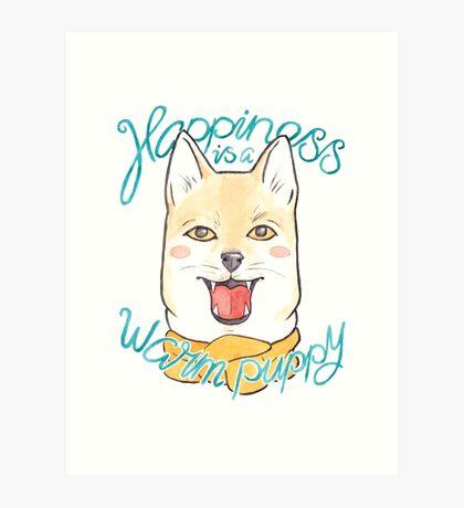 Shiba Inu Puppy in a Scarf Art Print