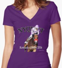 Nyquist Kentucky Derby Winner Women's Fitted V-Neck T-Shirt