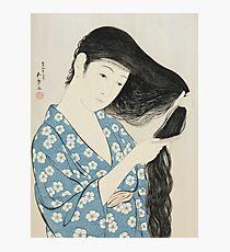 Vintage famous art - Hashiguchi Goyo - Woman Combing Her Hair (Kami Sukeru Onna) Photographic Print