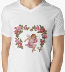 Pink Floral Cherub Angel Men's V-Neck T-Shirt