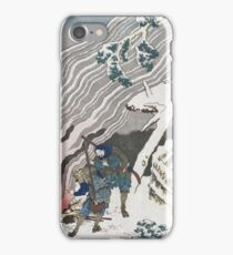 Vintage famous art - Hokusai Katsushika - Hunters By A Fire In The Snow iPhone Case/Skin