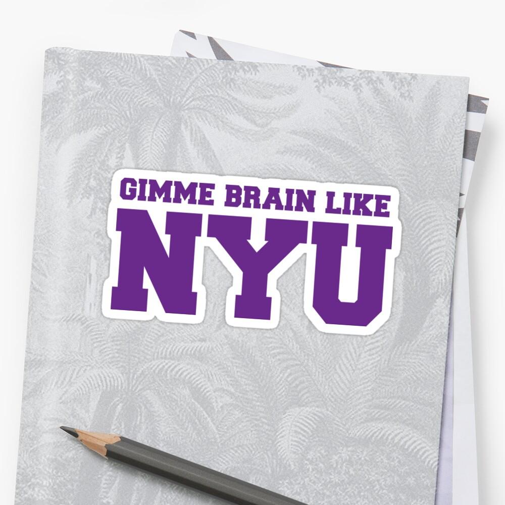 Dame cerebro como NYU (Morado) Pegatina