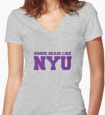 Camiseta entallada de cuello en V Dame cerebro como NYU (Morado)