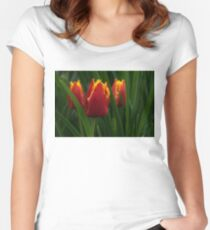 Cheerfully Wet Red and Yellow Tulips Women's Fitted Scoop T-Shirt