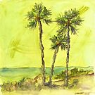 Green Sky Palms by dkatiepowellart