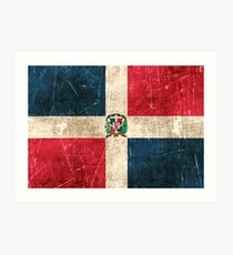 Vintage Aged and Scratched Dominican Republic Flag Art Print