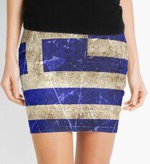 Minifalda Vintage bandera griega envejecida y rayado
