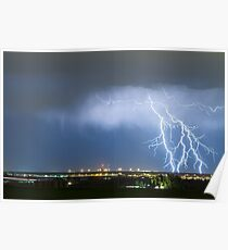 Northeast Colorado Lightning Strike and City Lights Poster