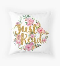 Just Read - Gold Foil Throw Pillow