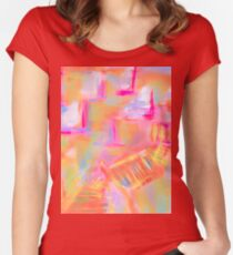 Colorful Abstract Art Sailboat Mug in Pastels Women's Fitted Scoop T-Shirt