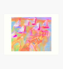 Colorful Abstract Art Sailboat Mug in Pastels Art Print