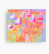Colorful Abstract Art Sailboat Mug in Pastels Canvas Print
