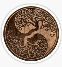 Rough Wood Grain Effect Tree of Life Yin Yang Sticker
