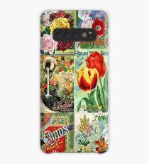 Weinlese-Blumen-Samen-Paket-Illustrationen für Joan Hülle & Klebefolie für Samsung Galaxy
