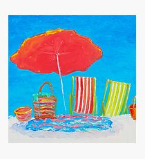 Beach painting - The Red Umbrella Photographic Print