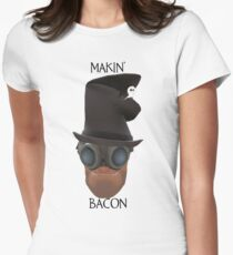 """TF2 Gibus Engineer """"Makin' Bacon"""" Womens Fitted T-Shirt"""