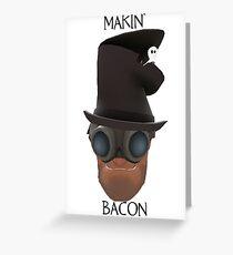 "TF2 Gibus Engineer ""Makin' Bacon"" Greeting Card"