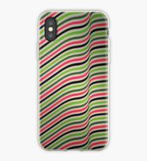 Green & Pink Wavy Diagonal Stripes iPhone Case