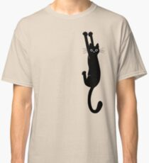 Black Cat Holding On Classic T-Shirt