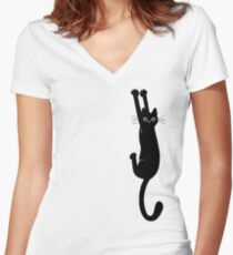 Black Cat Holding On Women's Fitted V-Neck T-Shirt