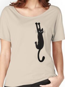 Black Cat Holding On Women's Relaxed Fit T-Shirt