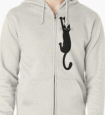 Black Cat Holding On Zipped Hoodie