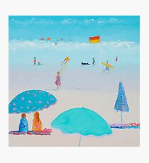 Beach painting - Flying The Kite Photographic Print