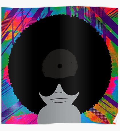 Funky Music Afro Vinyl Records Poster
