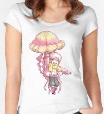Quallen Regenschirm Tailliertes Rundhals-Shirt