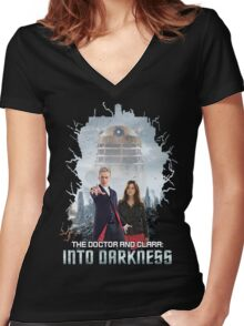 The Doctor and Clara: Into Darkness Women's Fitted V-Neck T-Shirt