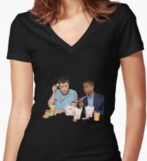 Shawn & Gus + Chinese Food Women's Fitted V-Neck T-Shirt