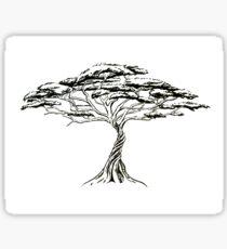 Whistling Thorn , Zen Bonsai African Tree Black and White Illustration Sticker