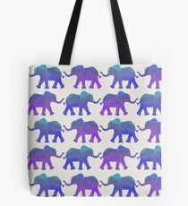 Follow The Leader - Painted Elephants in Purple, Royal Blue, & Mint Tote Bag