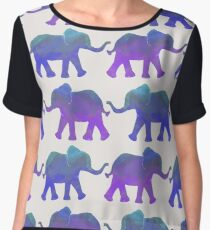 Follow The Leader - Painted Elephants in Purple, Royal Blue, & Mint Women's Chiffon Top