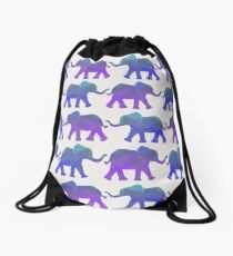 Follow The Leader - Painted Elephants in Purple, Royal Blue, & Mint Drawstring Bag