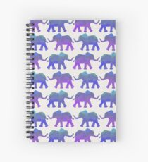 Follow The Leader - Painted Elephants in Purple, Royal Blue, & Mint Spiral Notebook