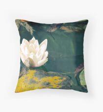Waterlily in garden pond Throw Pillow