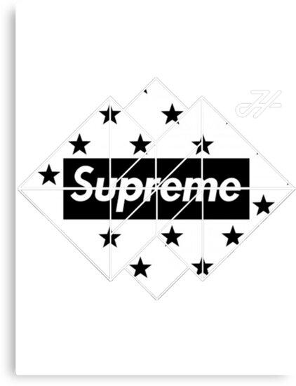 """black And White Supreme LOGO "" Canvas Prints By ..."
