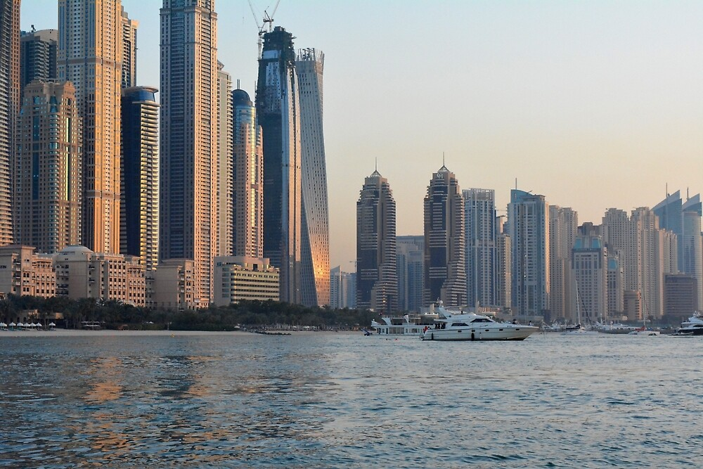 Photography of tall buildings waterfront, skyscrapers from Dubai, United Arab Emirates. by oanaunciuleanu