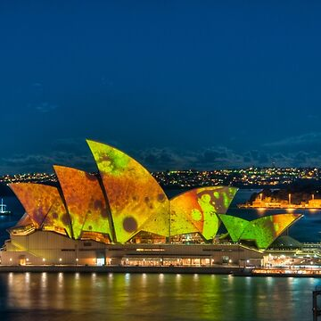 Vivid Opera House with Fort Denison by eschlogl
