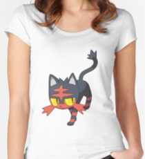 Litten New Pokemon (Pokemon Sun and moon) Women's Fitted Scoop T-Shirt