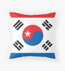 North & South Korean flags mixed beautiful pattern art Throw Pillow