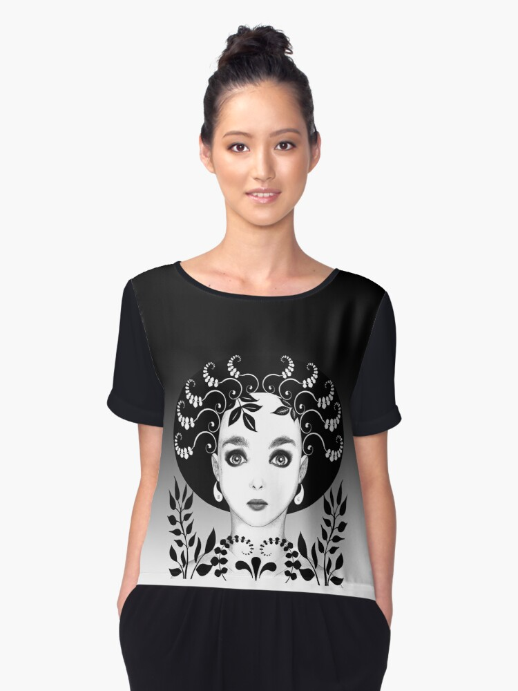 Black and white floral art deco face by Britta Glodde
